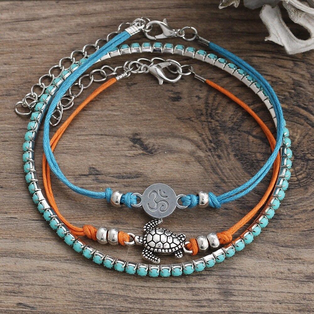 2018 Summer Beach Beads Sea Turtle Yoga Charm Rope String Anklets Bracelet For Women Leg Chain