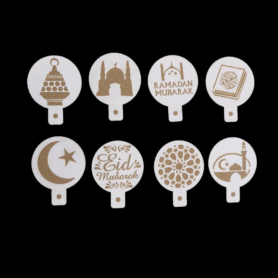 1set PET Mosque Eid Mubarak Ramadan Design Coffee Stencils,laser cut cookie Biscuits fondant cake decoration tools1set PET Mosque Eid Mubarak Ramadan Design Coffee Stencils,laser cut cookie Biscuits fondant cake decoration tools