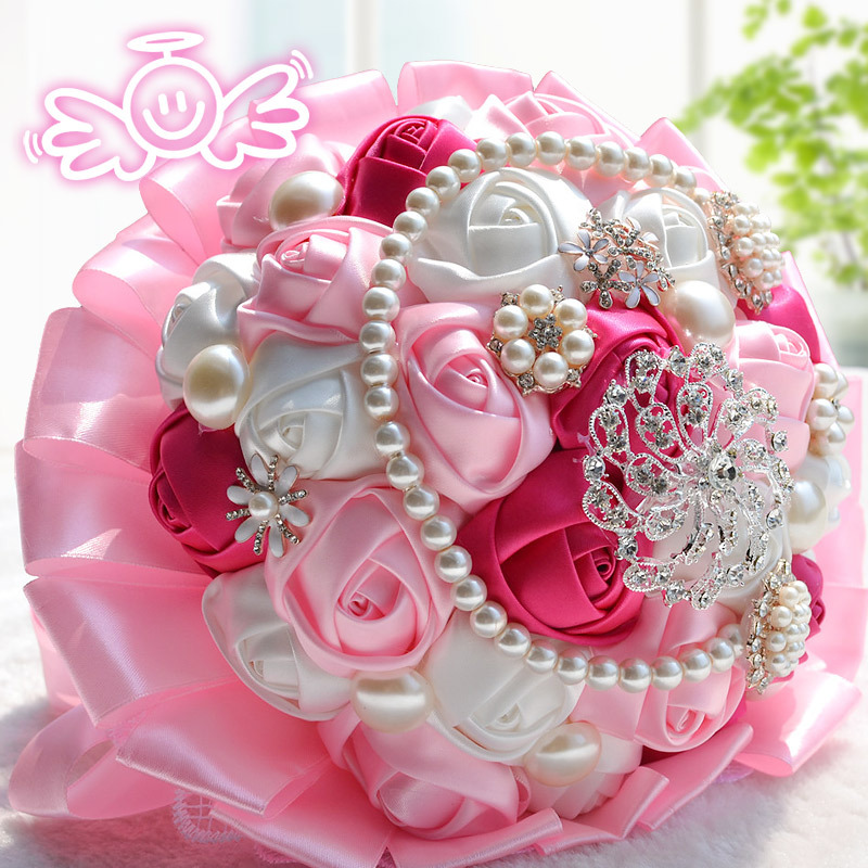 2016 Pure Manual Rose Bride Wedding Bouquet Luxurious Decoration Diamond And Pearl Chain And Lace Knitting Handle