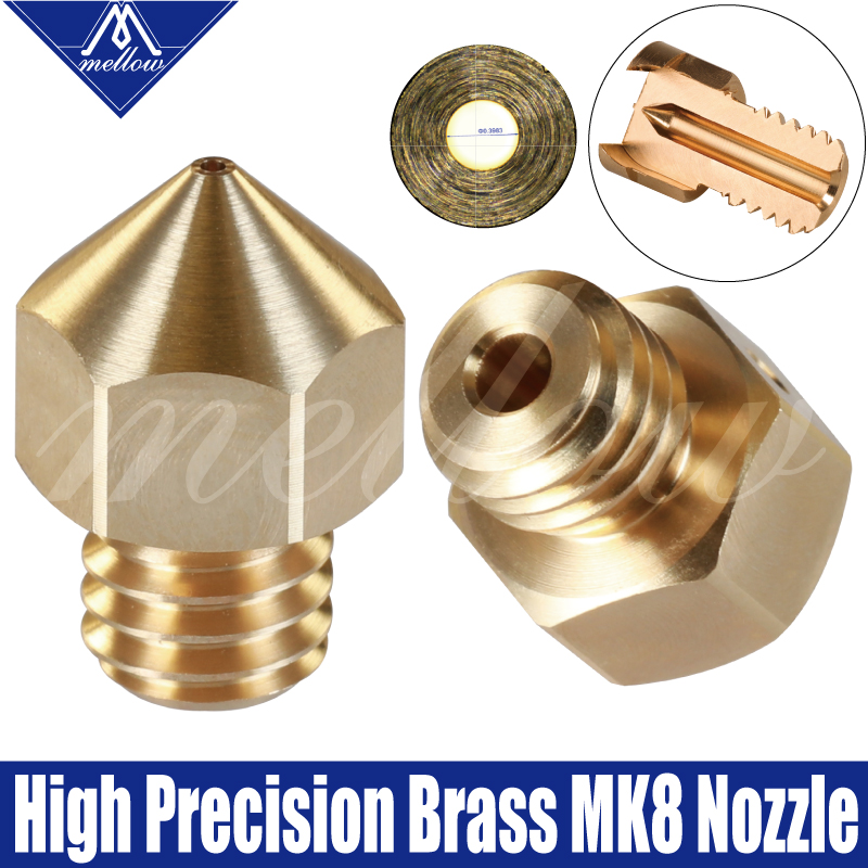 Mellow High Precision 3D Printer Parts Brass Mk8 Nozzles For Ender 3 Cr10 Tarantula Micro Swiss Hotend Brass Mk8 Nozzle