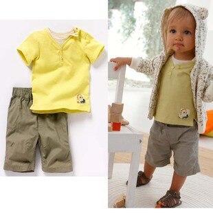 новый мальчиков досуг с короткими рукавами костюм из лайкры + тканые 2шт комплект, мода костюмы для детей, оптовая продажа бесплатная доставка
