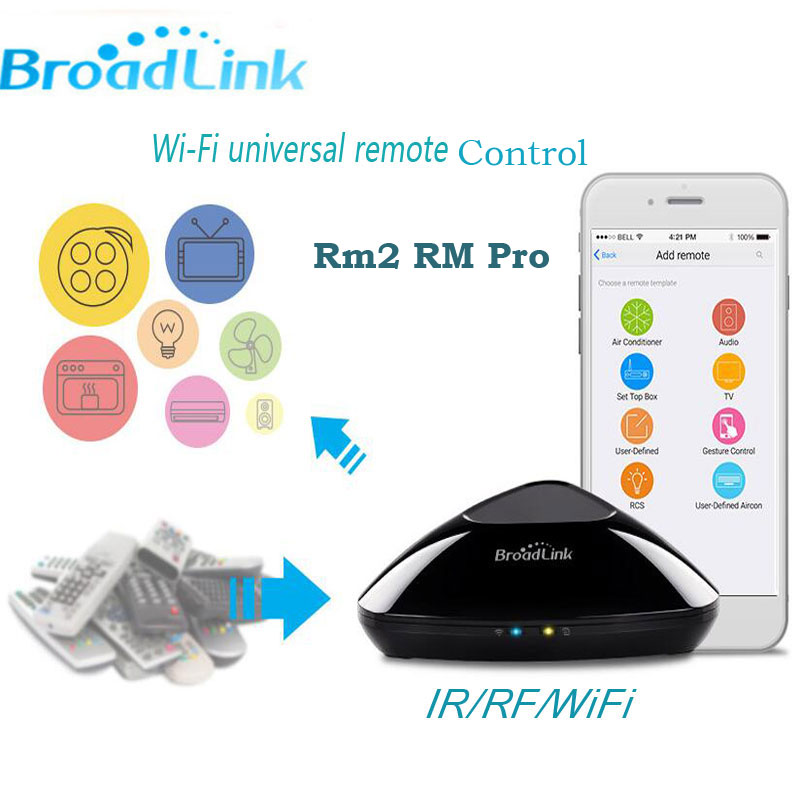 imágenes para 2017 Nueva Broadlink RM2 Rm Pro Controlador Universal, Inteligente Interruptor de Casa Inteligente de Control Remoto IR + RF + Wifi a través de IOS Android Teléfono