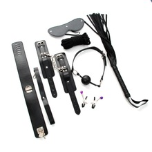 7pcs/Set  Leather Fetish Sex Bondage Restraint Sex Toys for Couples Black Handcuffs Gag Nipple Clamps Whip Collar Erotic Toy