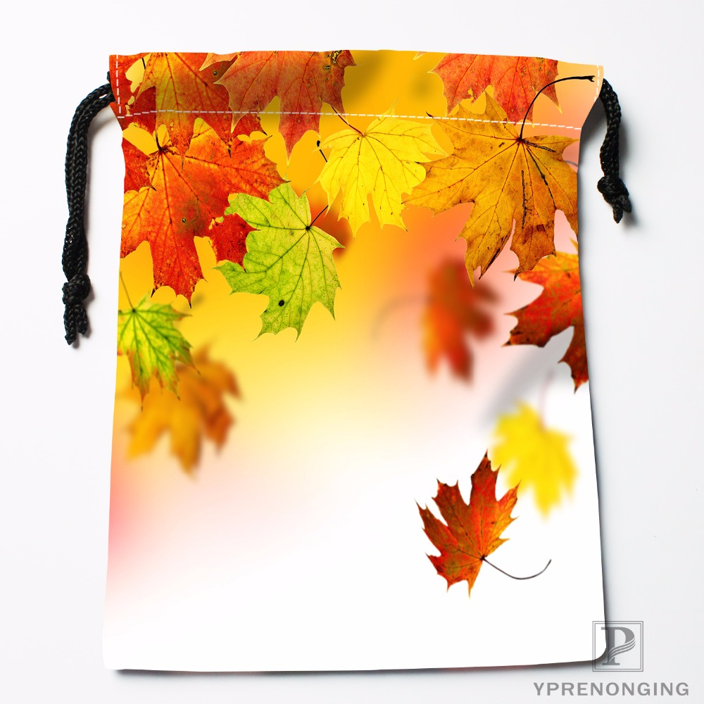 Custom Maple Leaf Leaves Drawstring Bags Travel Storage Mini Pouch Swim Hiking Toy Bag Size 18x22cm