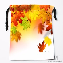 Custom Maple Leaf Leaves Drawstring Bags Travel Storage Mini Pouch Swim Hiking Toy Bag Size 18x22cm#0412-04-236