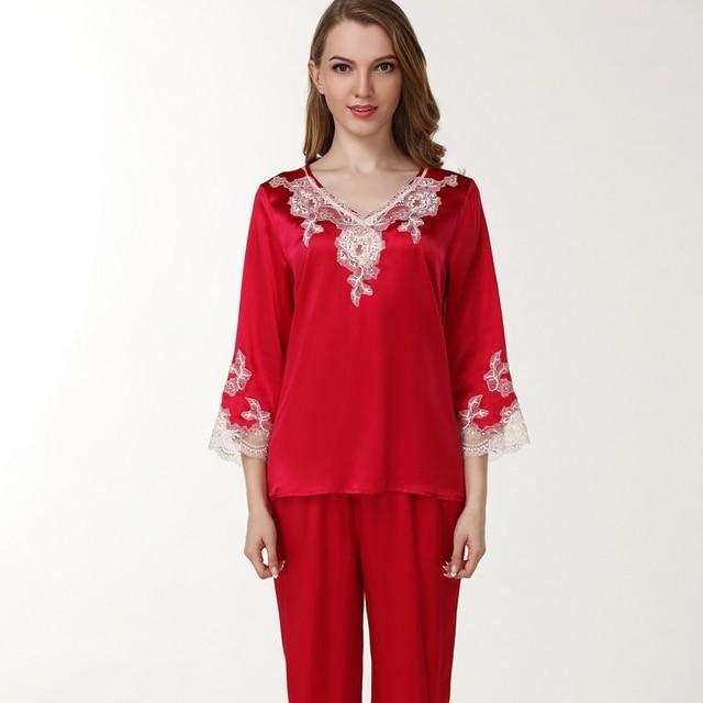 1dd6be506b women silk Satin Sleepwear Female red wedding Silk Pajama Sets Ladies  Pyjamas Plus Size Lace Print