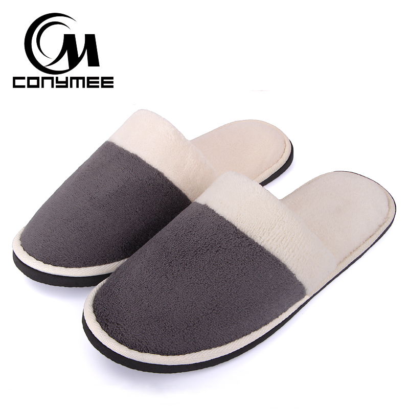 CONYMEE Home Slippers Men/Women Hotel/Travel Indoor Flat Shoes Pantufas Couples Casual Sneakers Winter Warm Soft Velvet Slipper men s and women s bathroom slippers summer bathhouse slippers eva hotel slippery wear resisting couples cross belt slipper