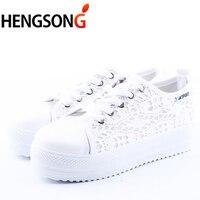 2017 Summer Women Shoes Casual Cutouts Lace Canvas Shoes Hollow Floral Breathable Platform Flat Shoe White