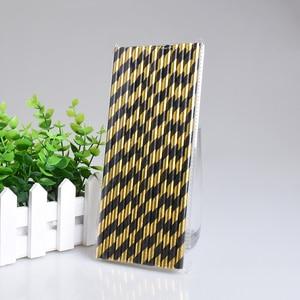 Image 3 - 25pcs stripe paper straw bronzing straw wedding birthday party decoration supplies environmental drinking straw dining tools
