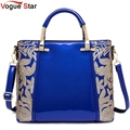 2017 Women Leather Handbags Messenger Bags New Fashion Sequins Embroidered Patent Leather Ladies Tote Shoulder Bags  LS589