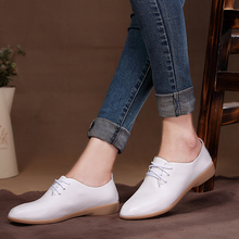 Lace-up Leather Flat Shoes