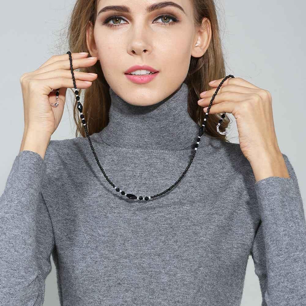 ファッション女性眼鏡チェーン黒アクリルビーズチェーン抗スリップメガネコードホルダーネックストラップ老眼鏡ロープ