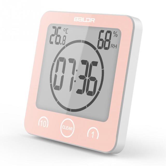 Digital Wall Clock Digital Bathroom Clock Waterproof Shower Clock Timer Temperature Humidity Wall Shower Clock Kitchen Timer