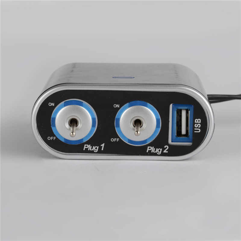 New DC 12V 2 Way Car Cigarette Lighter Socket Splitter with USB Blue Light Power Charger Adapter Auto Electronics Accessories