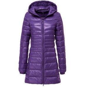 Image 4 - S ~ 6XL רזה מעיל 2017 נשים סתיו החורף חדשות ירידות הברווז מעיילי גבירותיי מעיל ארוך עם ברדס בתוספת גודל אולטרה הלבשה עליונה אור AB038
