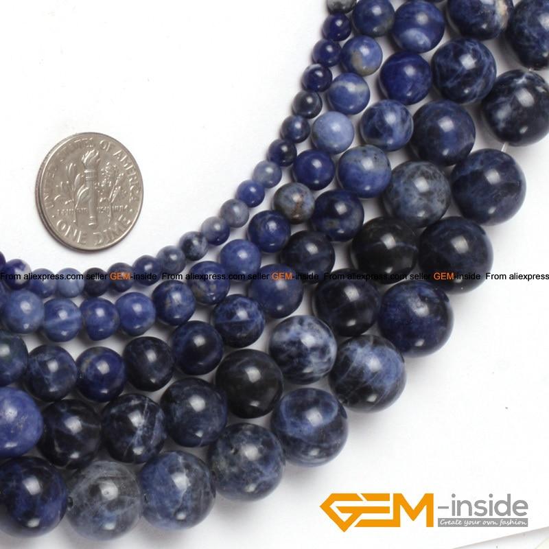 Perles Sodalite Bleu Ronde 8mm Naturelles Pierre Precieuse et Min/éraux pour Bijoux Longueur 38cm environ 46 pcs