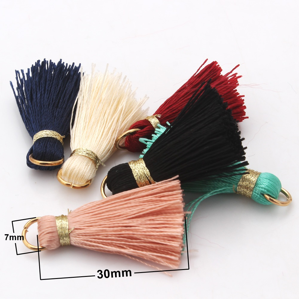Olingart 12Pcs/lot 3cm Mini Colorful Silky Tassels Charms Pendant Drop Earring Tassels for Jewelry DIY Boho Bracelet Necklace Gr(China)