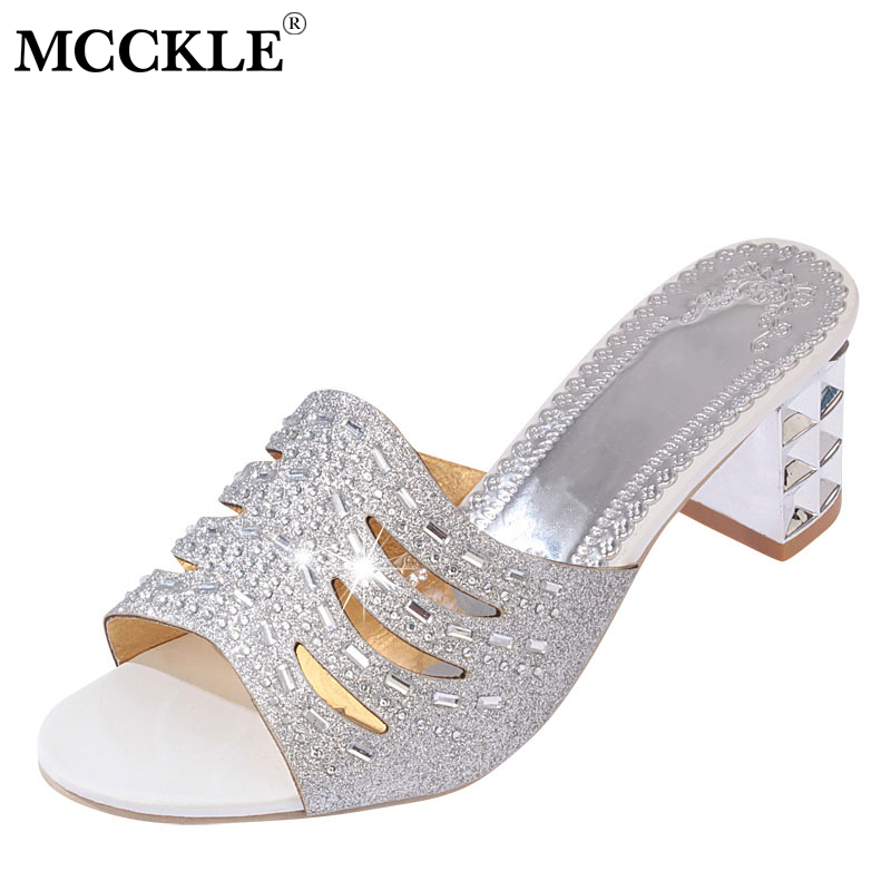 MCCKLE/Для женщин тапочки летние полые шлепанцы для женщин со стразами ботинки на среднем каблуке женские на не сужающемся книзу массивном каб...