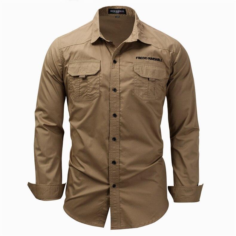 Men's Cargo Shirt 2019 Newest Casual Long Sleeve Embroidery Solid Shirts Classic Male Military Shirt Blue Khaki(EU SIZE),FM116