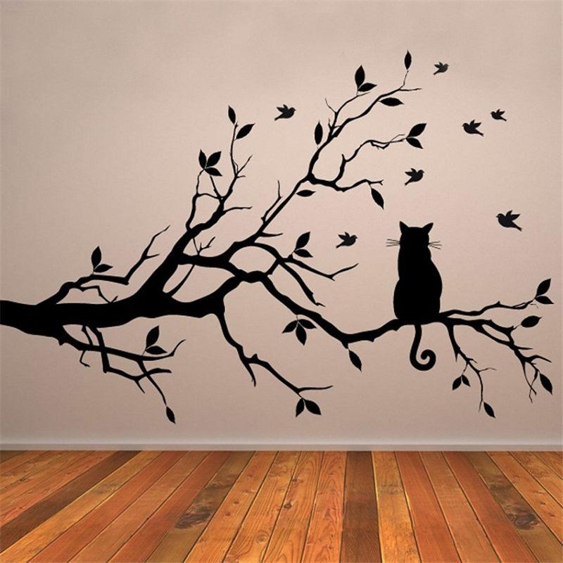 Cat On Tree Branch Birds Vinyl Wall Sticker Art Decorative StickersGlass Window