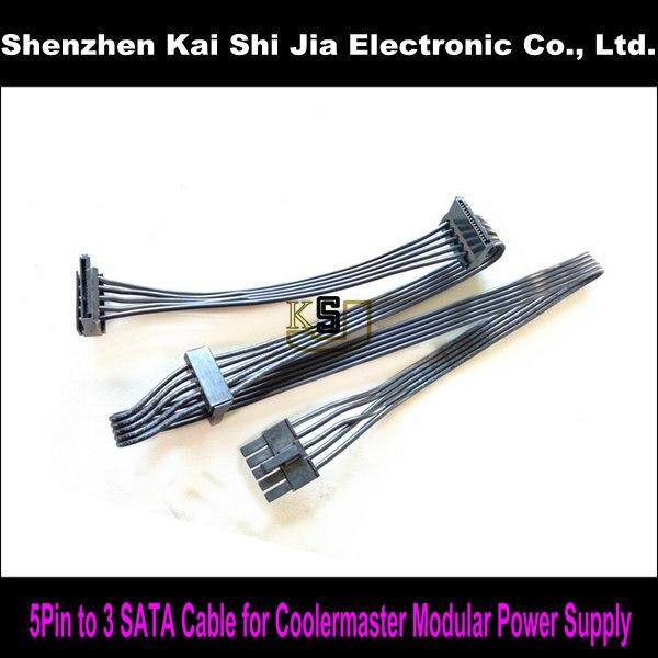 Black 5pin To 3 X Right Angle Sata Modular Power Supply Adapter