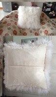 Natural White Mongolian Sheep Fur Pillow Cushion Tibet