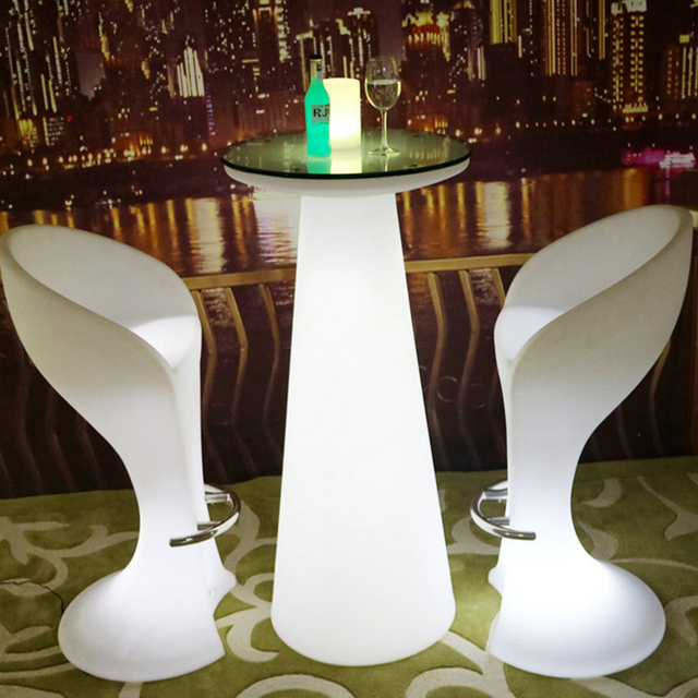 H47 Inches Waterproof Wireless Eat Standing Light Led,up Colorful Light  Cocktail Bar Table With