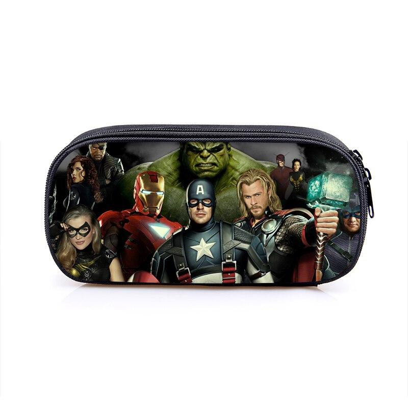 The Avengers Captain America Iron Man Hulk Boys Cartoon Pencil Case School Pouches Children Student Pen Bag Kids Purse Wallet cartoon the hulk shaped plastic mask green