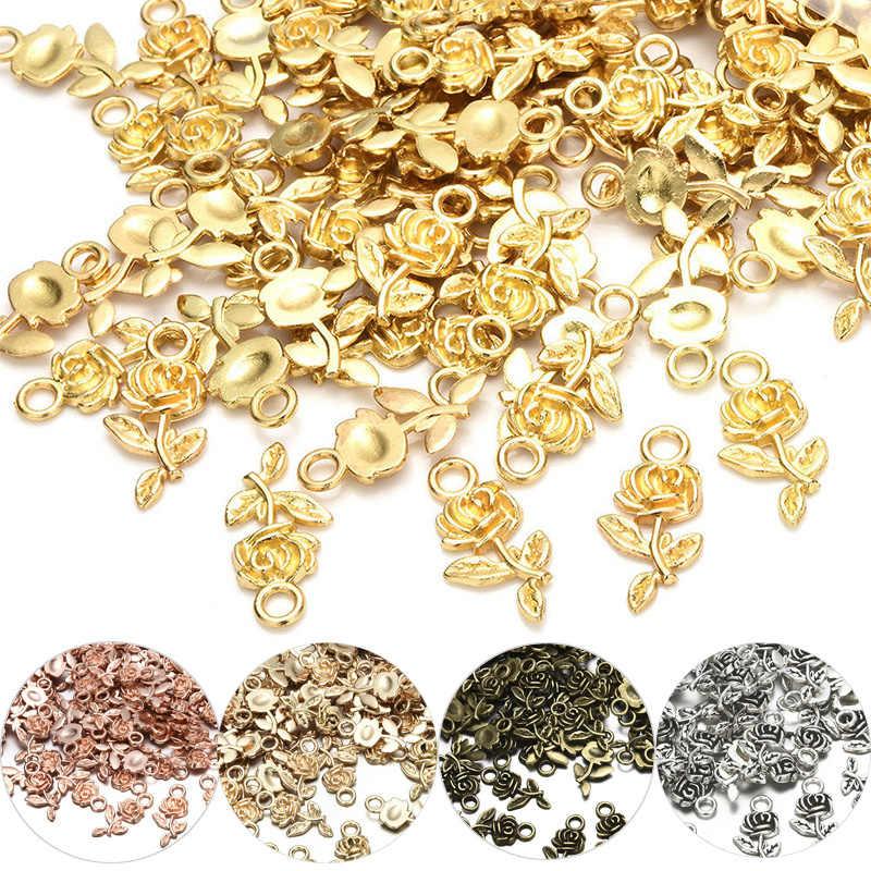 Nuovo 20pcs Tibet D'argento Del Fiore della Rosa Piccolo Pendenti e Ciondoli Perline Ciondolo FAI DA TE Monili Che Fanno La Collana Orecchini Accessori