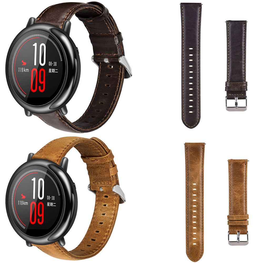 Amazfit Strap for Xiaomi Huami Amazfit Pace Stratos 2 Strap Retro Genuine Leather Wristband Bracelet for Amazfit 2 Band 22mm 22mm hole genuine leather watch strap for samsung gear s3 band bracelet for xiaomi huami amazfit pace stratos 2 amazfit 2 band