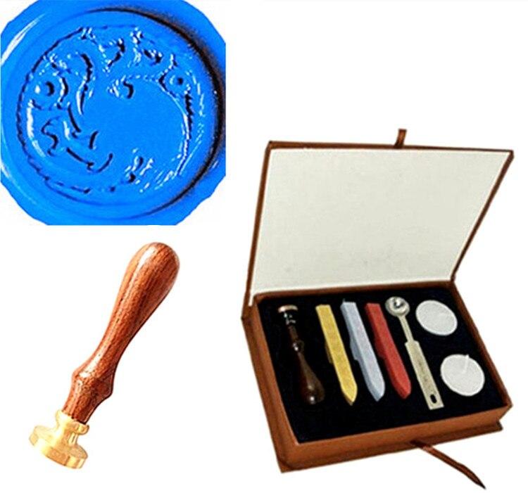 Wax Seal Stamp Custom Vintage Dragon Picture Logo Wedding Sticks Box Set Kit kitlee40100quar4210 value kit survivor tyvek expansion mailer quar4210 and lee ultimate stamp dispenser lee40100