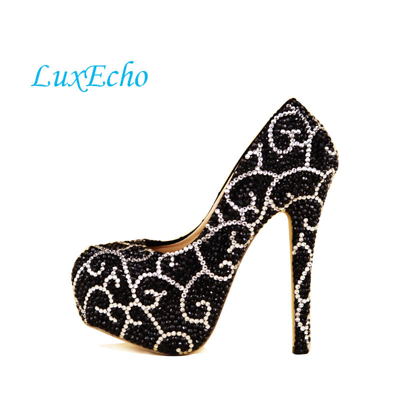 2017 Black Rhinestone Bride wedding shoes woman's Fashion Crystal Girl Party shoes Pumps Adult High heels free shipping siketu 2017 free shipping spring and autumn women shoes fashion sex high heels shoes red wedding shoes pumps g107