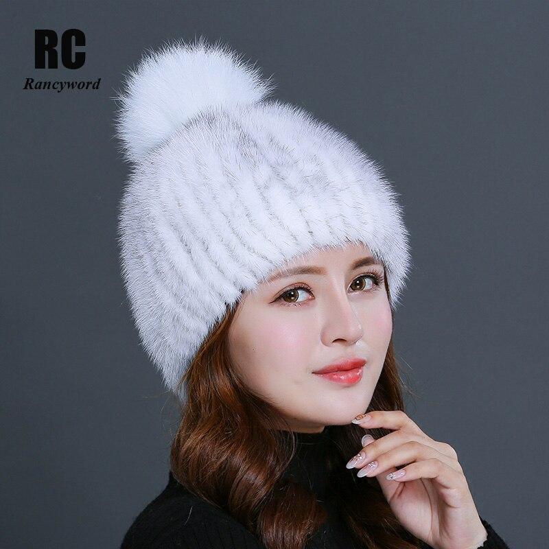 Rancyword invierno sombreros de piel de visón Real gordo para mujeres de  punto natural de c375bffa46f