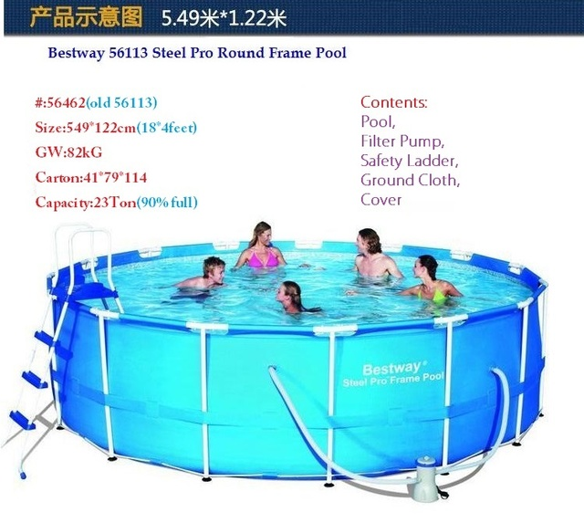 56462 Bestway 549*122cm Round Frame Swimming Pool Set(Filter,Ladder,Ground Cloth,Cover) 56113 18*4ft Thick Above Ground Pool
