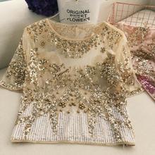 Женская весенне-летняя рубашка из сетчатой ткани с блестками и бисером; Женская корейская мода; шикарные вечерние Клубные футболки; топы; TB1153