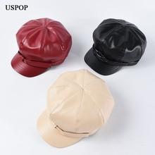 USPOP 2019 New PU octagonal hats women winter solid color newsboy caps cute bow visor