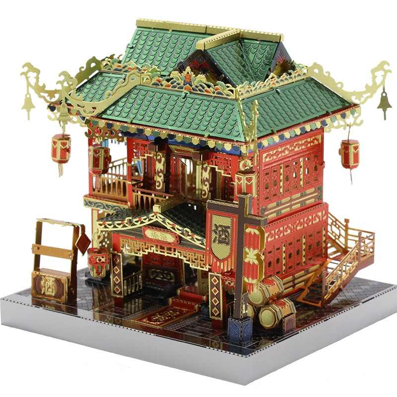 MU 3D Metal Puzzle Chinatown building LED light model educational DIY 3D Laser Cut Assemble Jigsaw Toys gift for kids children
