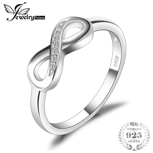 JewelryPalace Infinity Forever Love Anniversary Cubic Zirconia 925 Sterling Silver Finger Ring For Women Genuine Fashion Jewelry