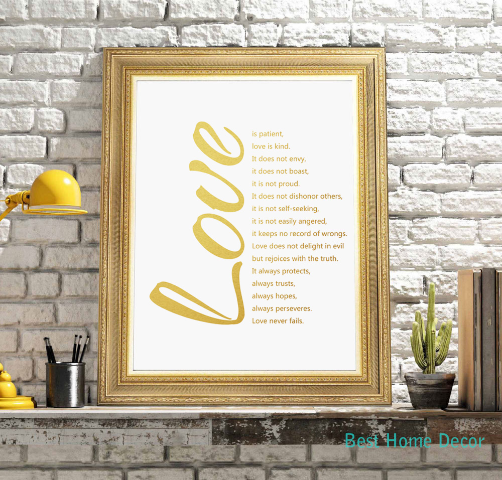Love Quotes Gold Poster Fine Art Paper 1 Corinthians 13 Art Print Wall  Decor Wall Hanging Home Decor Without Frame AP021 In Painting U0026 Calligraphy  From Home ...