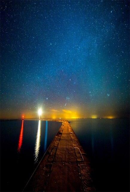 Laeacco Stellato Macchina Fotografica Notte Mare Colorato Faro
