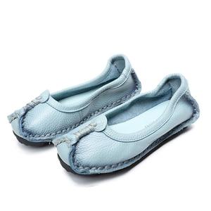 Image 5 - BEYARNE 2019 נשים נעלי עור אמיתיות נשים צבעים מעורבים נעליים יומיומיות בעבודת יד רך נוח נעלי נשים FlatsE003