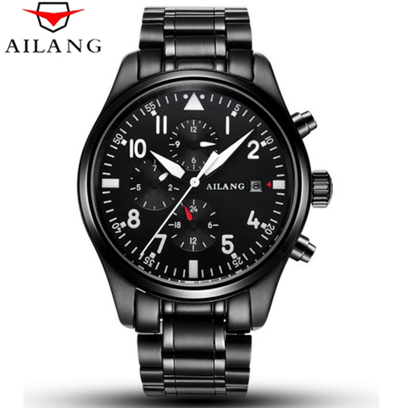 2017 AILANG Military Watch Military Sport Watches Men's Mechanical Movement Automatic Watch Black Luxury Men's Watch ultra luxury 2 3 5 modes german motor watch winder white color wooden black pu leater inside automatic watch winder