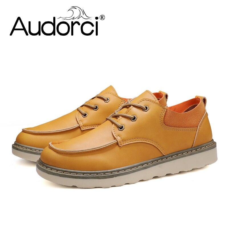 73b4b785 brown Tamaño Moda Botas Zapatos Arranque 44 Ocasionales Audorci Yellow  Suela Calidad Otoño La Alta Antideslizante Hombres ...