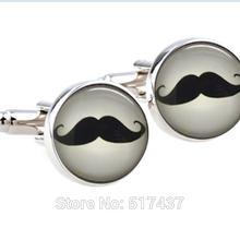 1 pair Cufflinks High Quality Mustache cuff links ,Moustache Glass Art Cufflinks,,gift for him Father Dad,wedding cuff links