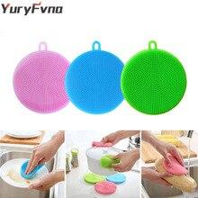 YuryFvna Silicone Dish Sponge Antibacterial Kitchen Scrubber Vegetable Fruit Brush Cleaning Sponge Dish Washing Brush Pot Holder