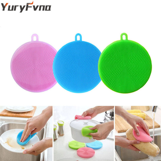 YuryFvna Silicone Dish Sponge Antibacterial Kitchen Scrubber Vegetable Fruit Brush Cleaning Sponge Dish Washing Brush Pot Holder