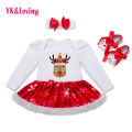 2016 Christmas Cotton White Long Sleeve Girl Rompers Dress Baby Girls Clothes Sets 3pcs Newborn Jumpsuit Infant Clothes