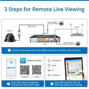Image 2 - SANNCE 8CH 720P Cctv systeem HD 1080P DVR Kit 6PCS 1.0MP Beveiligingscameras IR nacht waterdichte Surveillance kit