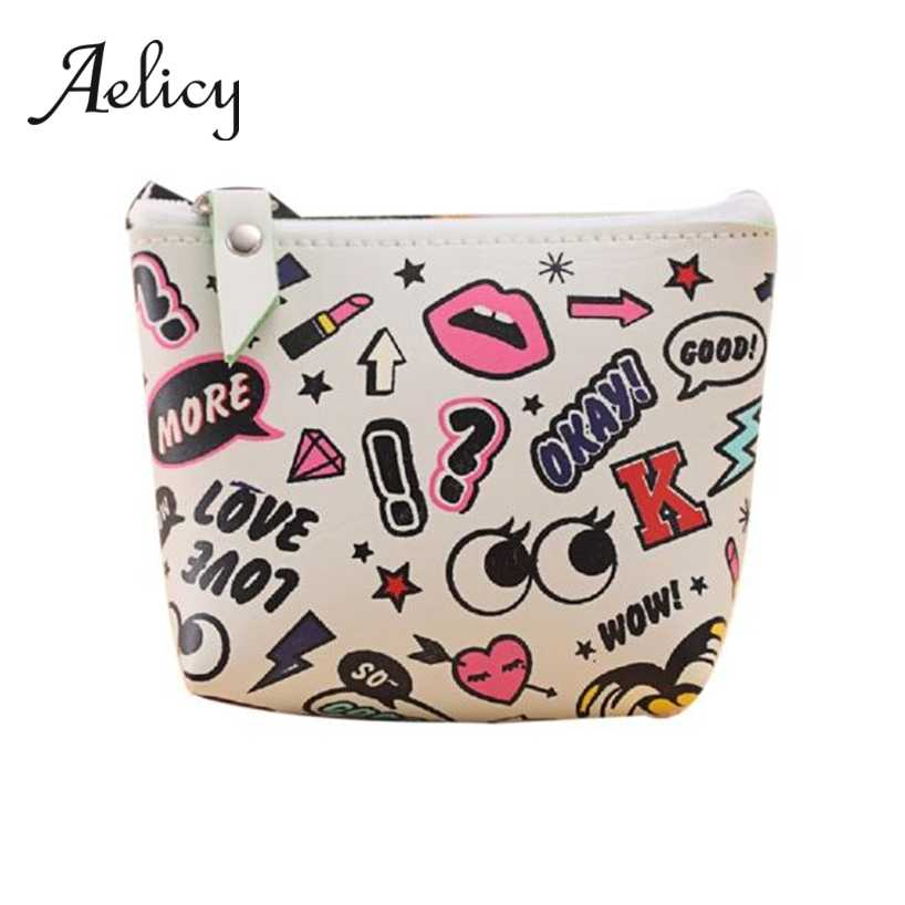 Aelicy Women Girls Cartoon Cute Eyes Coin Purse Leather Mini Zipper Small Square Clutch Wallet Key Holder Storage Bag