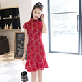 Small Fresh Ladies Fish Tail Cheongsam Dress New Fashion Slim Was Thin Daily Improvement Cheongsam